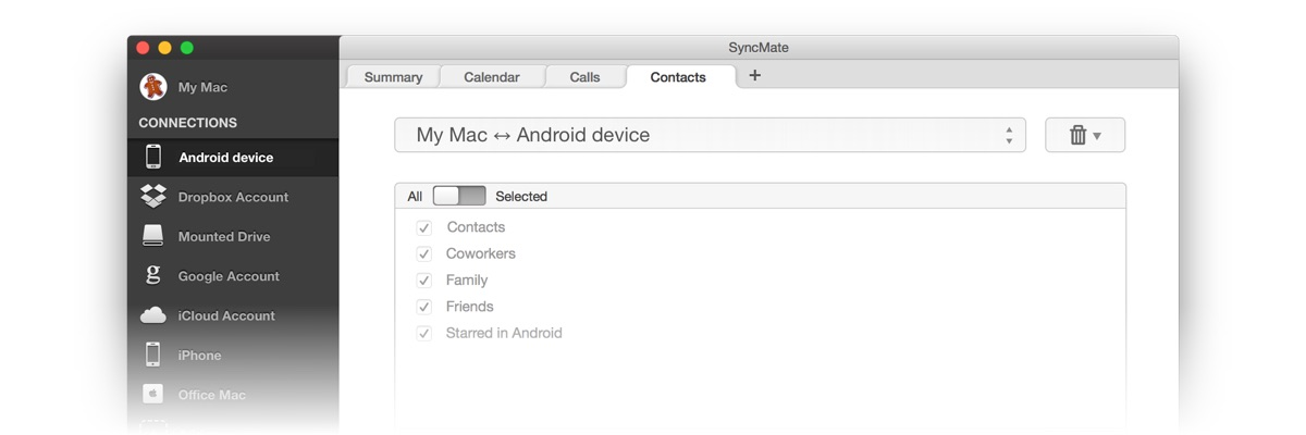 Now let's look at SyncMate Expert Edition's possibilities to sync Android phone with Mac.