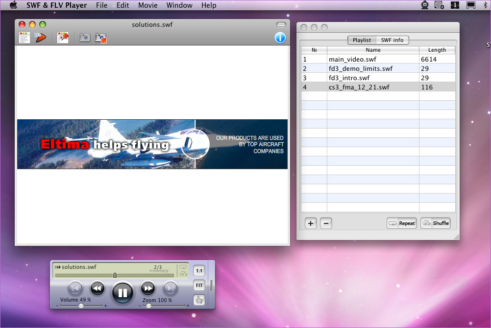 Watch and manage Flash files with SWF & FLV Player for Mac by Eltima
