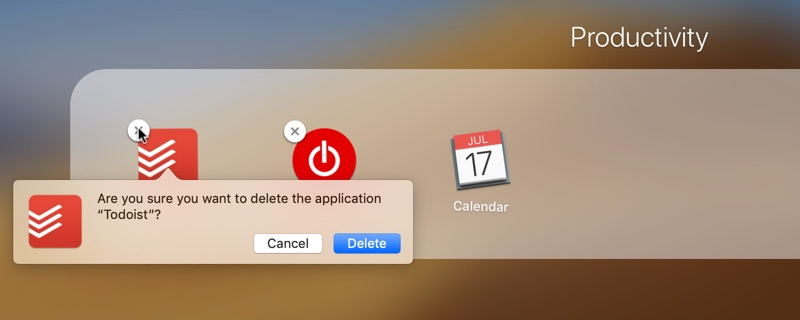 Uninstalling apps on Mac in Launchpad