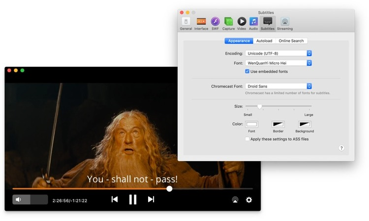 Play video with subtitles on Mac with Elmedia