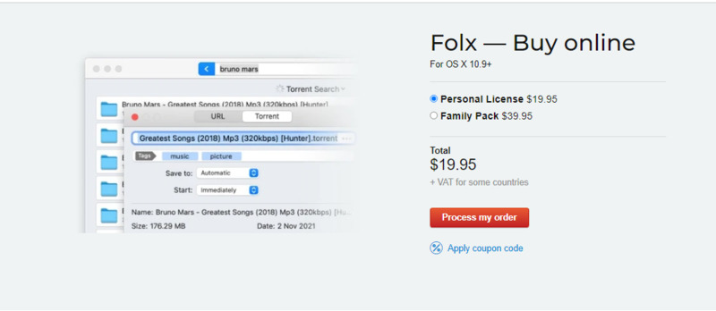 Here you can see available Folx PRO licenses