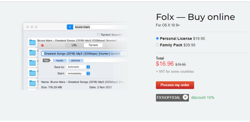 The discounted price appears after activating promocode for Folx PRO