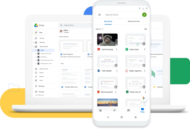 You can use Google Drive both on your phone and Mac computer.