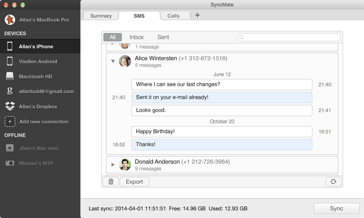 SyncMate SMS Manager