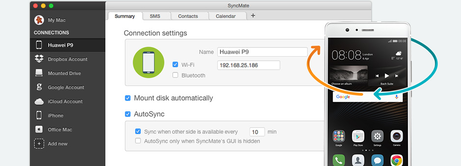Below you can find several guides to use SyncMate as Huawei HiSuite for Mac.