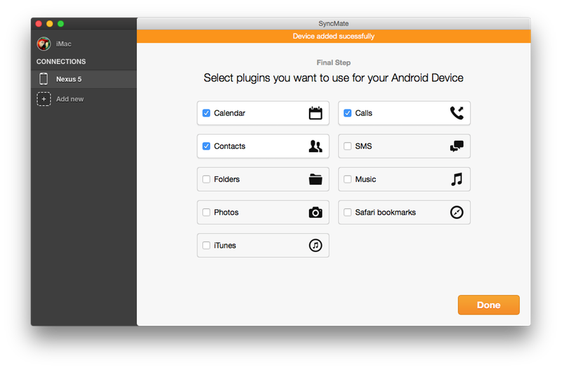 Android file transfer for Mac として使った場合の SyncMate