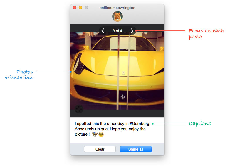 how to add pictures to instagram from mac