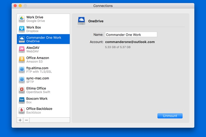 CloudMounter OneDrive connection screenshot