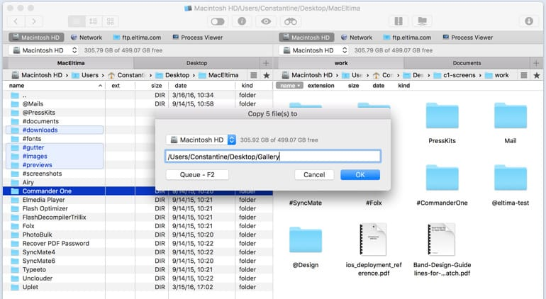 Commander One file manager copy options
