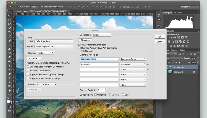 Photoshop watermark functionality