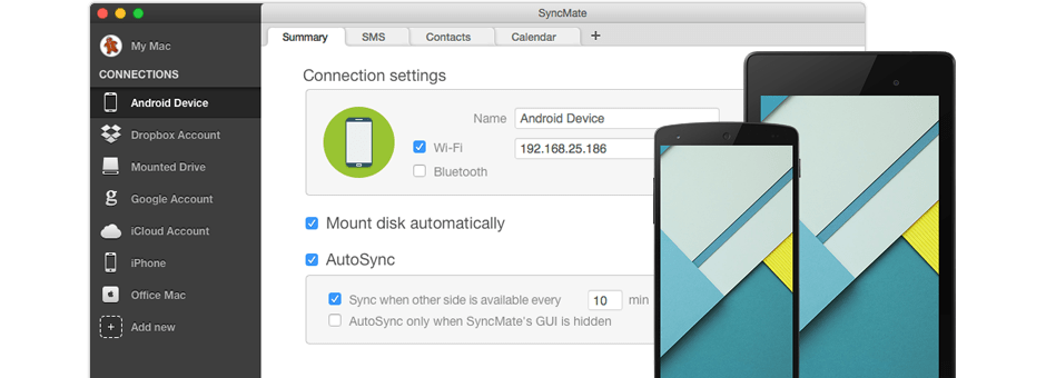 Synchronize Android Mac