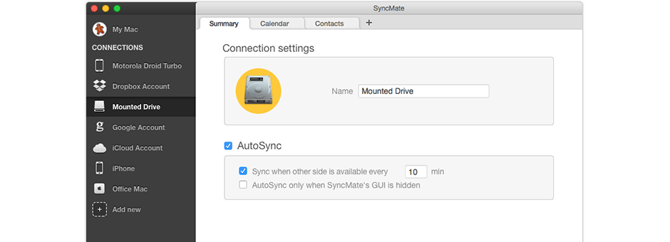 Sync Mac with mounted devices