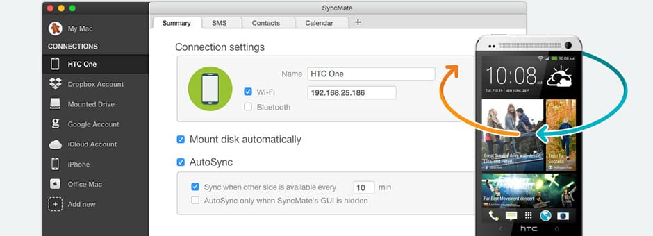 Synchronize HTC Mac