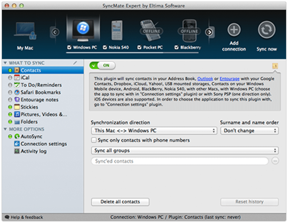 Sync Mac with Windows Mobile, Blackberry, Nokia and many others