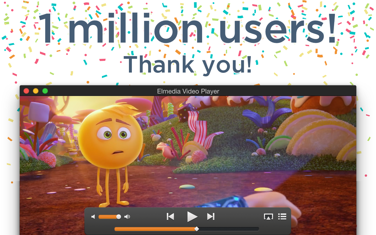 Elmedia Player hits one million user mark - Thank you! Image